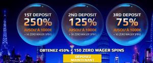 les 3 premiers depots euromoon casino