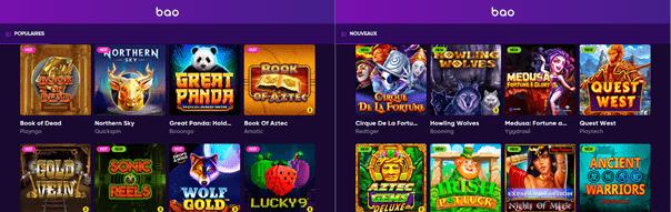 Jeux et éditeurs de BAO Casino