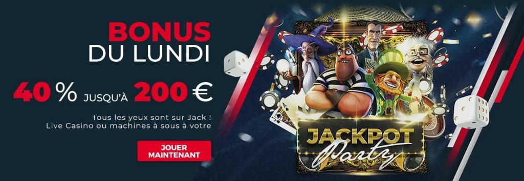 jack21 casino bonus du lundi