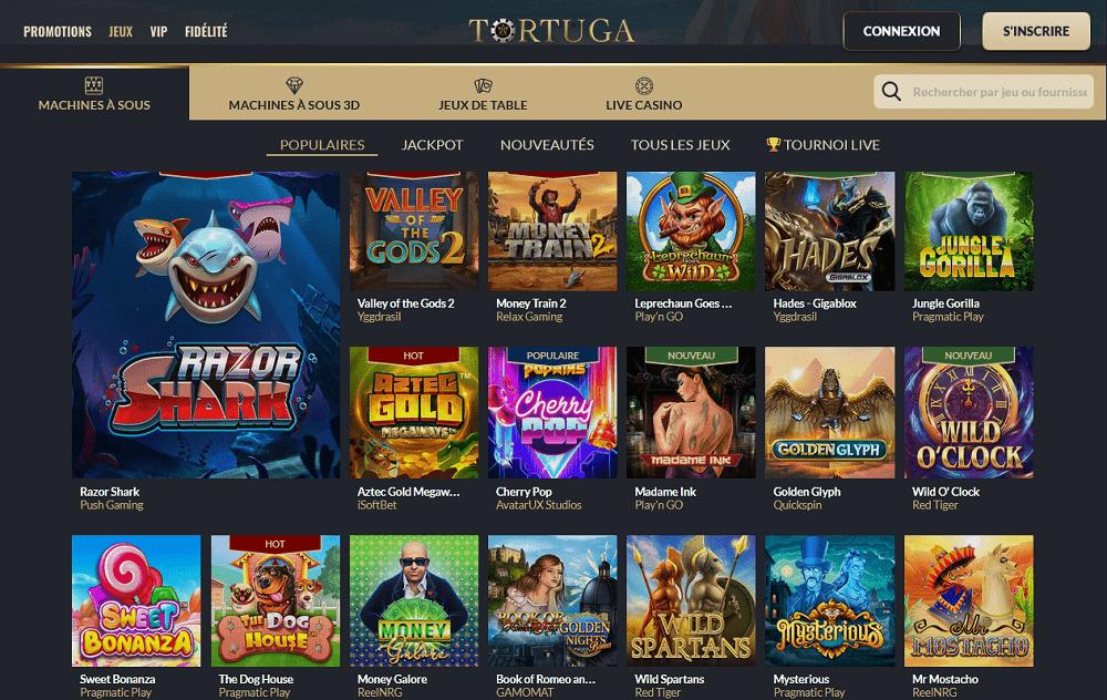 Machines a sous populaires du Casino Tortuga