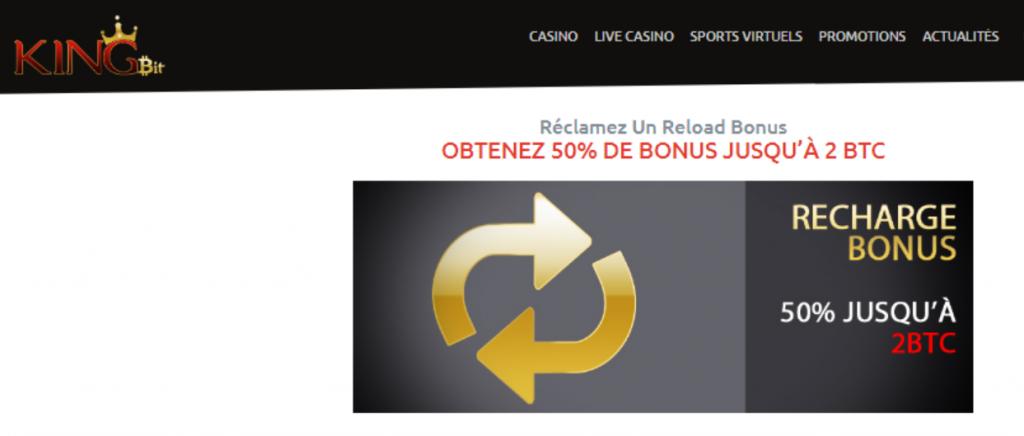 casino kingbit recharge bonus 50% jusqua 2 BTC