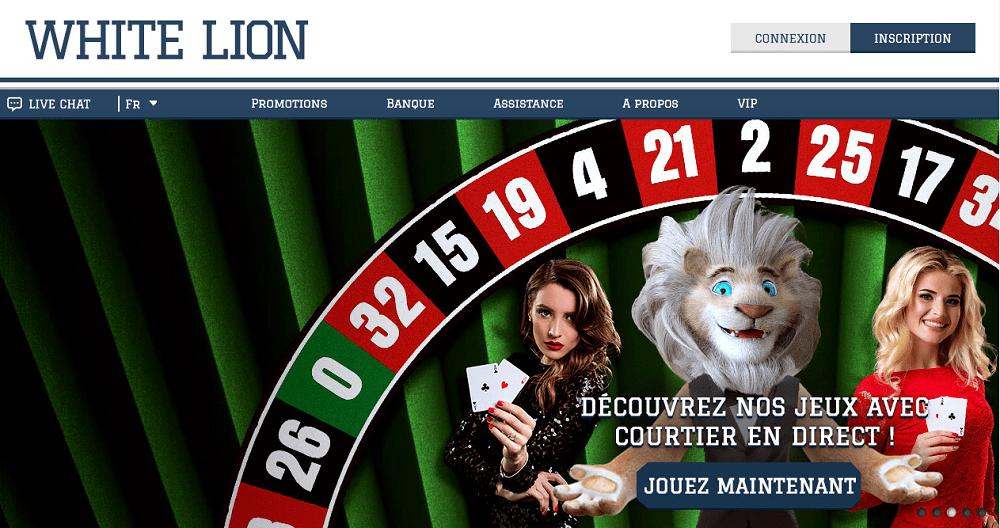 jeux avec courtier en direct sur le casino white lion