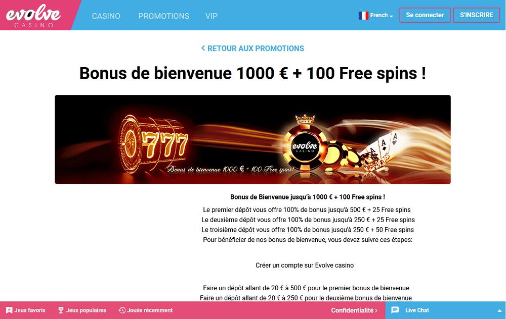 bonus de bienvenue 1000 euros + 100 free spins evolve casino