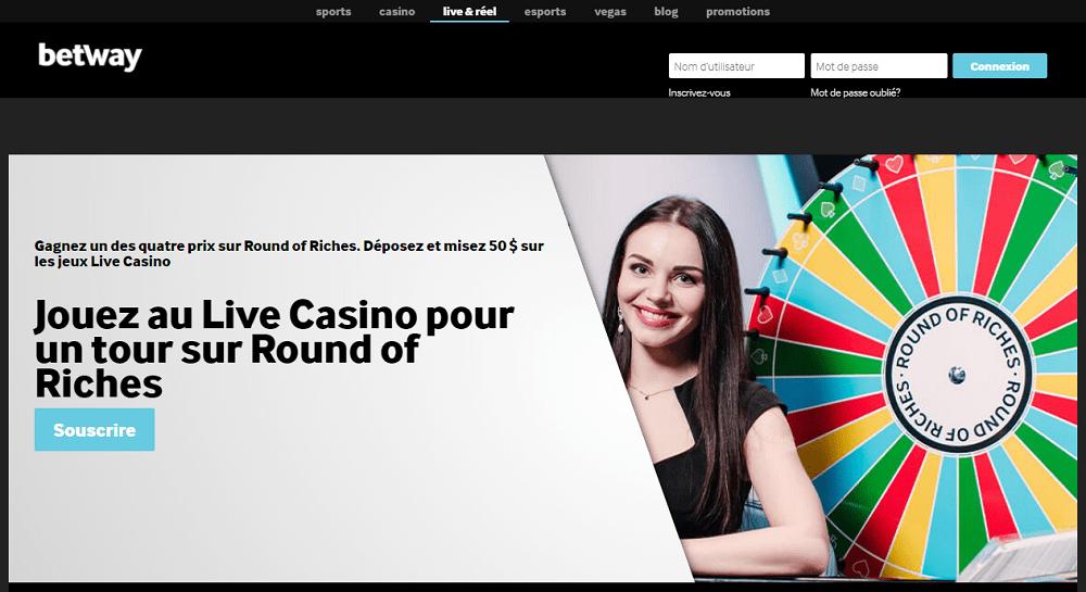 jouez au live casino sur betway