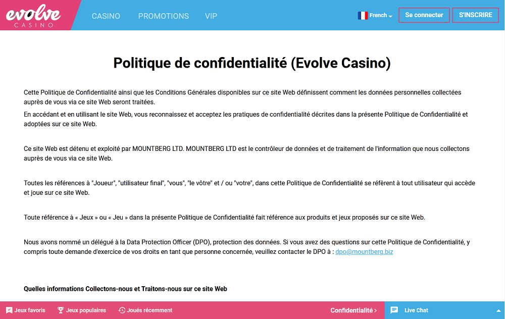 politique de confidentialite Evolve casino