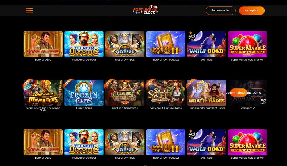 jeux gratuits de casino chez Fortune Clock Casino